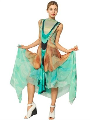 Ruffled Printed Silk Chiffon Long Dress