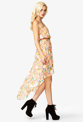 Forever 21 Floral High-Low Dress w/ Braided Belt