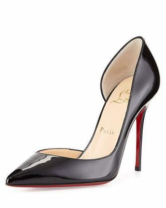 Christian Louboutin Iriza Patent Half-d'Orsay 100mm Red Sole Pump, Black $675 thestylecure.com