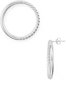 Argentovivo Round Rope Earrings in Sterling Silver