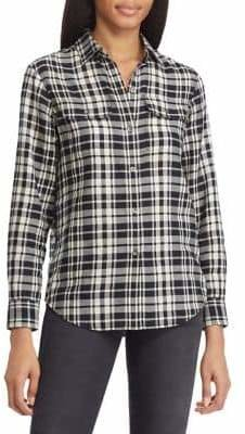 Chaps Petite Checked Cotton Button-Down Shirt