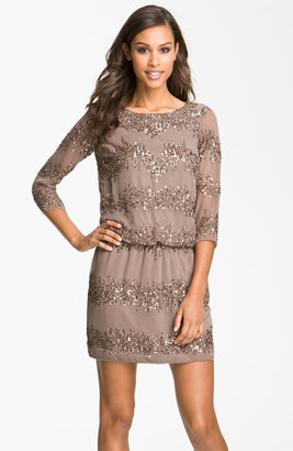 Adrianna Papell Embellished Scoop Back Blouson Dress