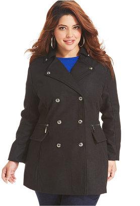 Dollhouse Plus Size Coat, Double-Breasted Military Pea Coat