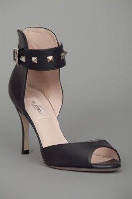 Valentino Peeptoe Studded Ankle Strap Heel Black