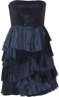 Alice + Olivia Apri beaded tiered silk-blend dress