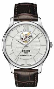 Tissot Tradition Powermatic Open Heart Leather Strap Watch