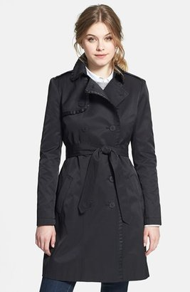 T Tahari 'Mulberry' Ruffle Trim Double Breasted Trench Coat