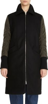 Marni Felted Coat with Removable Fur-Trimmed Hood