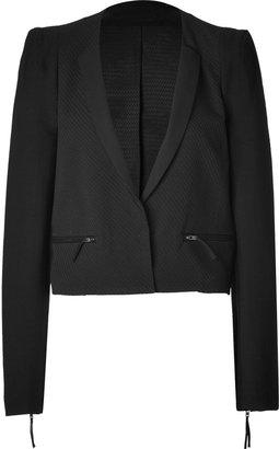 Vanessa Bruno Black Mixed-Media Cropped Jacket