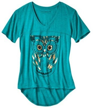 Juniors Owl High Low Graphic Tee - Jade