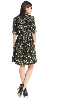 Amy Byer Dress, Long-Sleeve Floral-Print Shirtdress