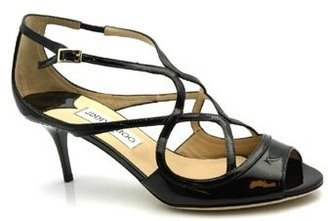 "Jimmy Choo Dinton"" Black Patent Leather Sandals"