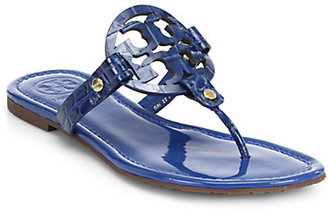 Tory Burch Miller Crocodile-Embossed Patent Leather Sandals