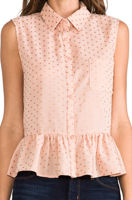 Lucca Couture Cut Out Sleeveless Button-down