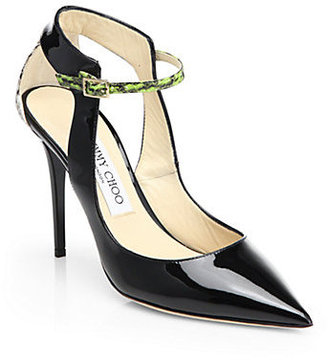 Jimmy Choo Mystic Patent Leather & Snakeskin Colorblock Pumps