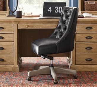 Pottery Barn Hayes Tufted Leather Swivel Desk Chair