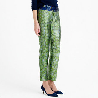 J.Crew Collection cropped pant in jade jacquard