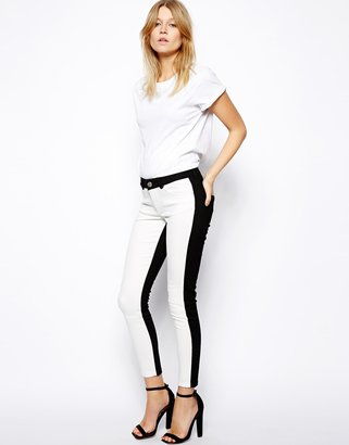 Asos Whitby Low Rise Skinny Ankle Grazer Jeans in Mono Panel