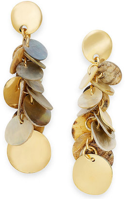 Style&Co. Earrings, Gold-Tone Ivory-Colored Disc Drop Earrings