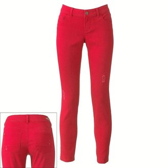 Lauren Conrad color distressed skinny jeans