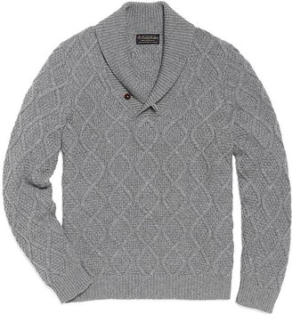 Brooks Brothers Cashmere Aran Cable Knit Shawl Sweater
