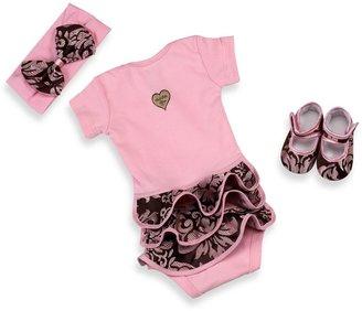 Bed Bath & Beyond Baby Bella MayaTM 3-Piece Pink Champagne Bodysuit Set