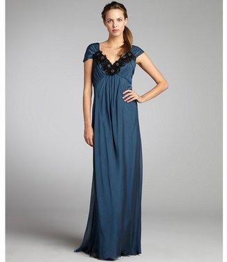 Carmen Marc Valvo teal silk chiffon bead flower applique pleated sleeveless gown