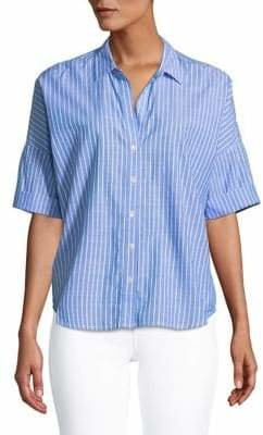 Joie Stripe Short Sleeve Cropped Shirt