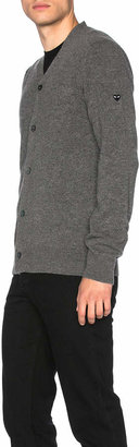 Comme des Garcons Lambswool Cardigan with Small Black Emblem Sleeve in Grey   FWRD