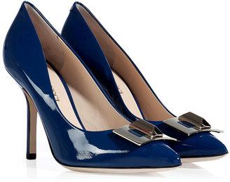 Emilio Pucci Blue Jean Blue Patent Leather Turnlock Pumps