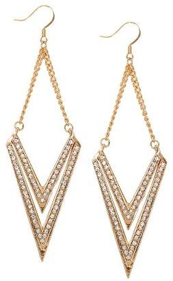 Gold Rhinestone Arrow Drop Earrings