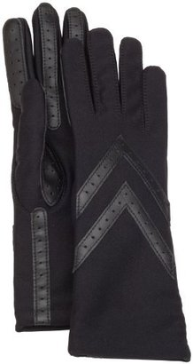 Isotoner Women's Knit Lined Glove with Leather Palm Strips