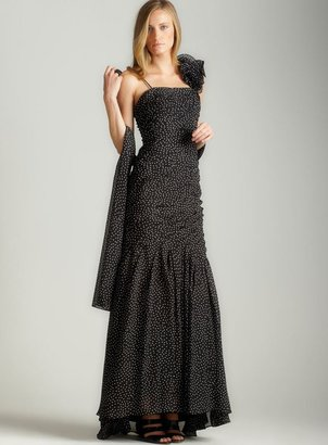 Adrianna Papell Polka Dot Tulle Gown