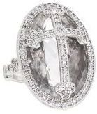 Jude Frances Oval Pave Guinevere Cross Ring with Diamonds - White Gold