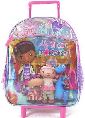 "Disney doc mcstuffins ""we all care"" rolling backpack - kids"