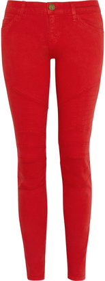 Current/Elliott The Moto coated low-rise skinny jeans