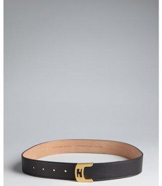 Fendi black leather logo buckle belt