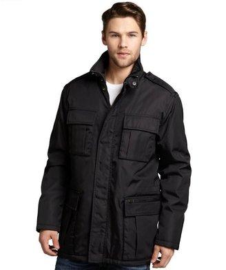 Prada black resin-coated woven coat