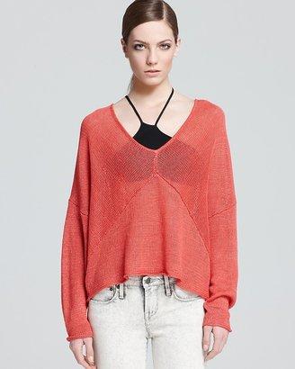 Helmut Lang HELMUT Sweater - Tucked Linen Scoop V Neck Pullover