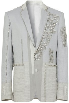 Burberry English Fit Crystal Embroidered Technical Linen Jacket