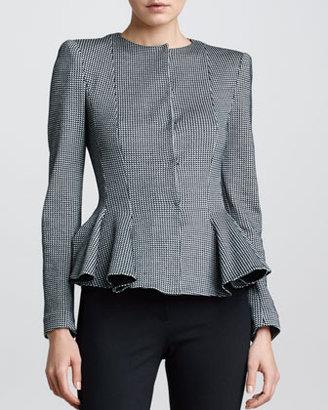 Armani Collezioni Check Ponte Jersey Jacket, Black