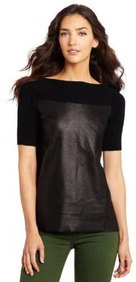 Robert Rodriguez Women's Leather Contrast Pullover