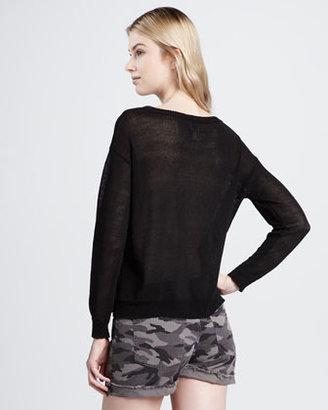 Haute Hippie Lace-Inset Knit Sweatshirt