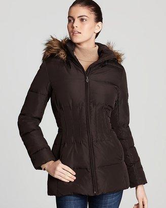 Calvin Klein Coat with Faux Fur Hood