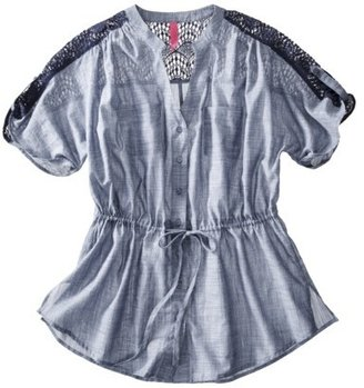 Pure Energy Junior's Plus-Size Short-Sleeve Crochet Top- Blue Chambray