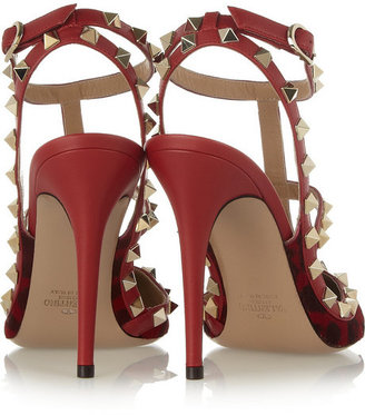 Valentino Studded leather and animal-print calf hair pumps