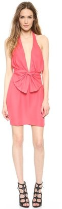 Olcay Gulsen Deep V Bow Mini Dress