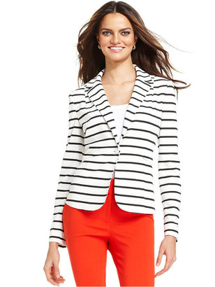 Grace Elements Jacket, Single-Button Striped Ponte-Knit Blazer