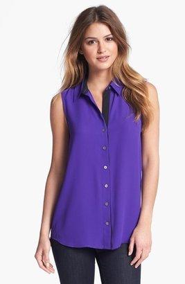 Vince Camuto Tuxedo Stripe Blouse (Regular & Petite) Jewel Purple Medium