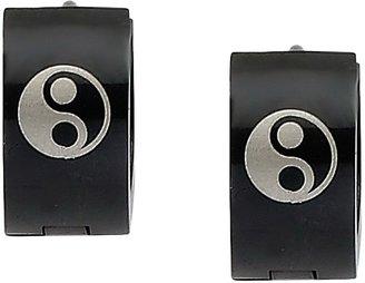 Yin & Yang Steel by Design Black-Plated Yin-Yang Hoop Earrings